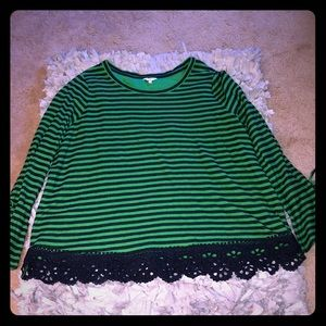 Crown & Ivy Green & Navy Lace Embellished Blouse